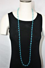Long Turquoise Irish Linen Crocheted Lariat with Turquoise Crystals Beads