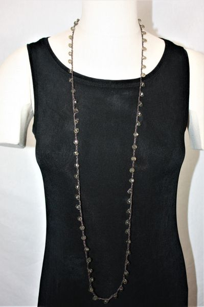 Long Black Irish Linen Crocheted Lariat with Light Gray Crystal Beads