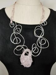 Aluminum Swirls, Leather and Light Pink Rough Cut Stone Necklace