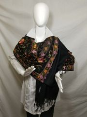 Black, Lilac and Green Medium Embroidered Kashmir 100% Wool 4 Way Ponchos Pashminas with Tassel Accent