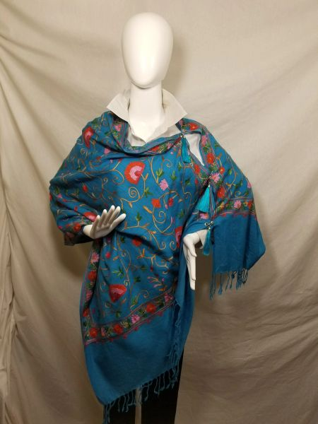 Turquoise Blue Embroidered Kashmir 100% Wool 4 Way Ponchos Pashmina Scarf with Tassel Accent