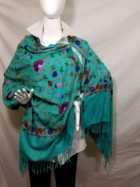 Teal Green Embroidered Kashmir 100% Wool 4 Way Ponchos Pashmina Scarf with Tassel Accent