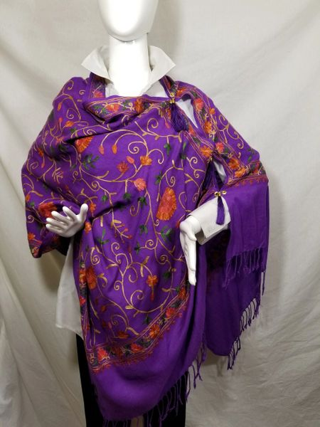 Purple Embroidered Kashmir 100% Wool 4 Way Ponchos Pashmina Scarf with Tassel Accent