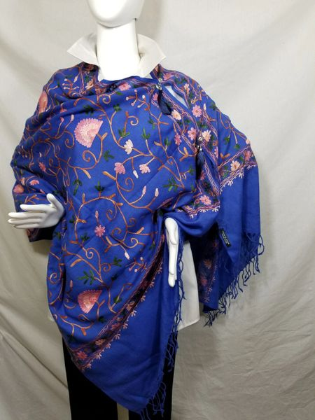 Royal Blue Embroidered Kashmir 100% Wool 4 Way Ponchos Pashmina Scarf with Tassel Accent
