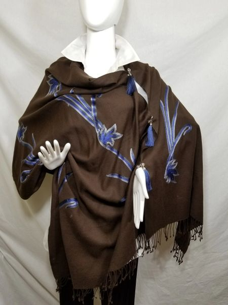 Brown & Blue Embroidered Kashmir 100% Wool 4 Way Ponchos Pashmina Scarf with Tassel Accent