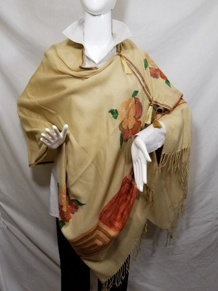 Camel Embroidered Kashmir 100% Wool 4 Way Ponchos Pashmina Scarf with Tassel Accent