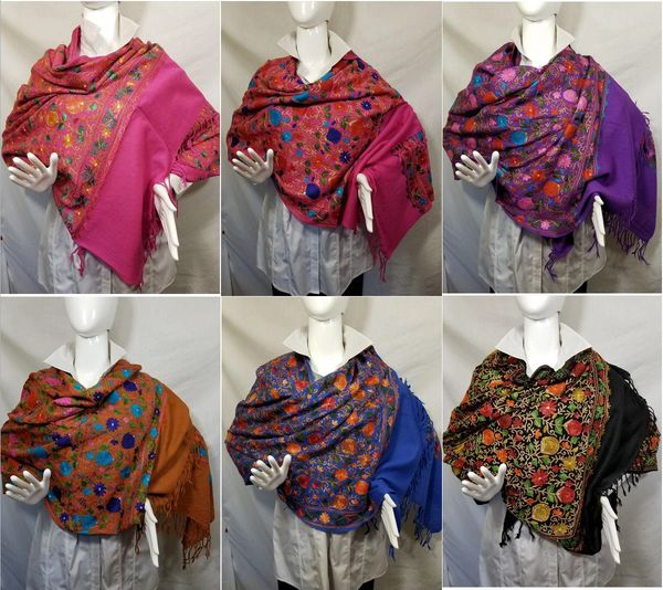 Black, Magenta, Brown, Purple or Royal Heavily Embroidered Kashmir 100% Wool 4 Way Ponchos Pashmina Scarf with Tassel Accent