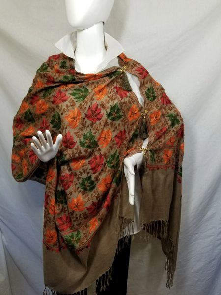 Brown with Leaves Heavily Embroidered Kashmir 100% Wool 4 Way Ponchos Pashmina Scarf with Tassel Accent
