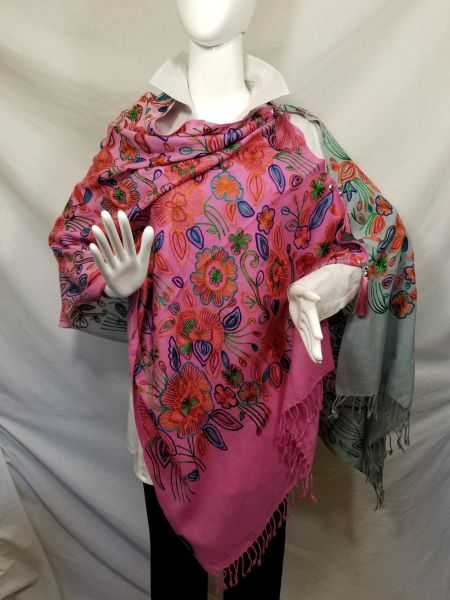 Ombre Deep Pink/Gray Multicolor Heavy Embroidered Kashmiri 100% wool 4 Way Ponchos Pashminas with Tassel Accents