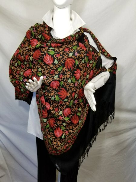 Black w/Red Heavy Embroidered Kashmiri 100% wool 4 Way Ponchos Pashminas with Tassel Accents