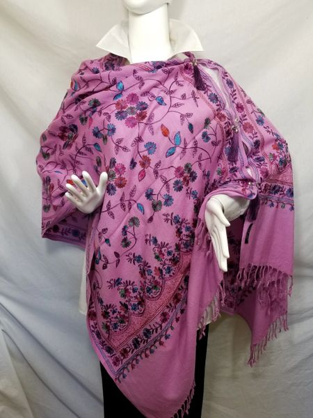 Purple Pink Embroidered Kashmiri 100% wool 4 Way Ponchos Pashminas with Tassel Accents