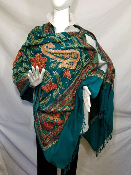 Teal Heavy Embroidered Kashmiri 100% wool 4 Way Ponchos Pashminas with Tassel Accents