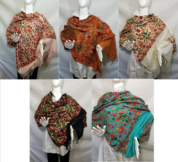 Turquoise, Black, Cream, Brown, Dusty Pink Heavily Embroidered Kashmir 100% Wool 4 Way Ponchos Pashmina Scarf with Tassel Accent