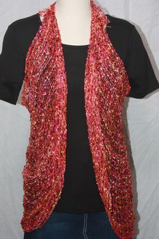 Woven Tangarine/Red/Magenta Vest/Scarf