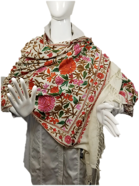 Cream Heavy Embroidered Kashmiri 100% wool 4 Way Ponchos Pashminas with Tassel Accents