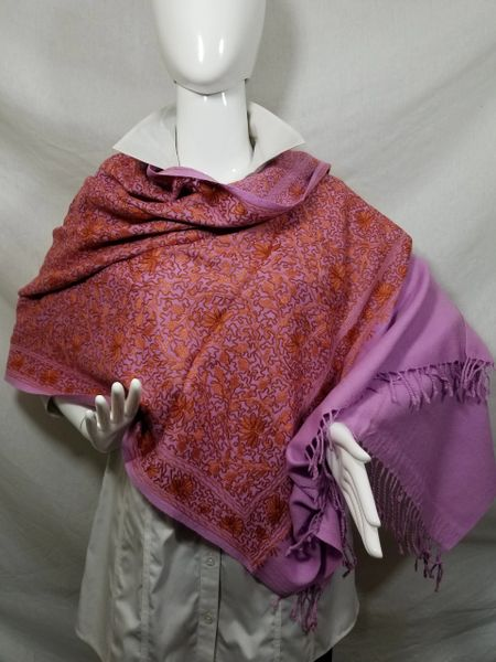 Pink w/Coppery Orange Heavy Embroidered Kashmiri 100% wool 4 Way Ponchos Pashminas with Tassel Accents