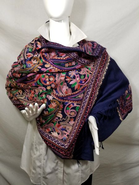 Navy w/Silver Edge Heavy Embroidered Kashmiri 100% wool 4 Way Ponchos Pashminas with Tassel Accents