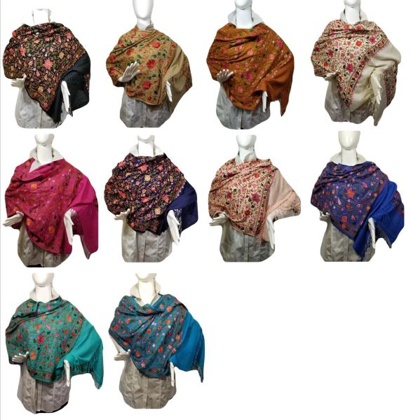 Lots of Great Colors Heavily Embroidered Kashmir 100% Wool 4 Way Ponchos Pashmina Scarf with Tassel Accent