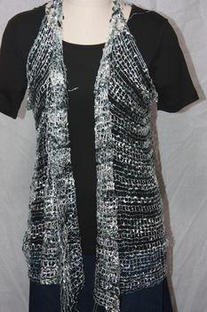 Woven Black/Grey/White Sequin Vest/Scarf
