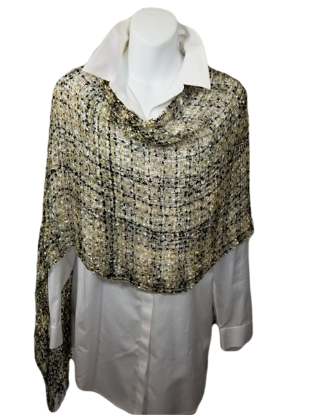 Woven Shades of Brown, Gray, White, Gold Vest/Poncho/Scarf with Tassel Accents