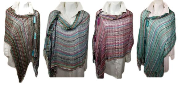 Shimmering Silver Woven Shades with Striped Heather Turquoise Brown Magenta Vest/Poncho/Scarf with Tassel Accents