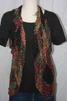 Woven Black/Green/Gold/Magenta Vest/Scarf