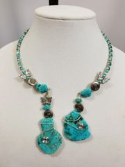 Turquoise and Silver Double Dangle Choker Necklace