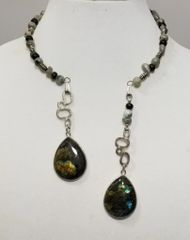 Labradorite and Agate Double Dangle Choker Necklace