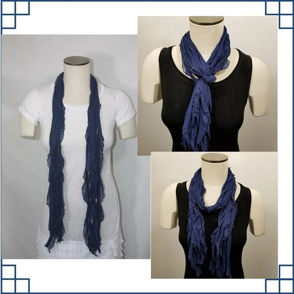 Navy with Sliver Edge Flutter Scarf