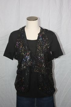Cloth Black/Multi Color Foil Vest/Scarf