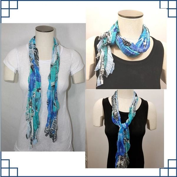 Royal Blue, Black, Turquoise and White Flutter Scarf