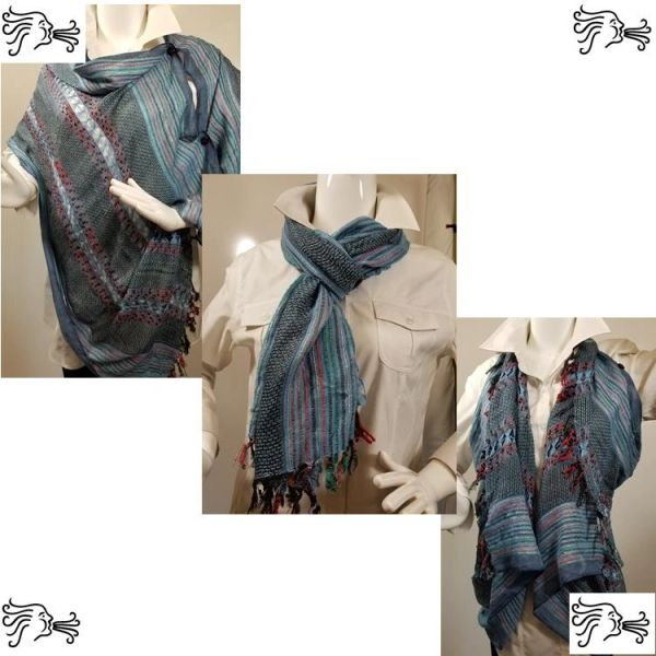 Woven Shades of Blue, Red, Green Vest/Poncho/Scarf with Button Accents
