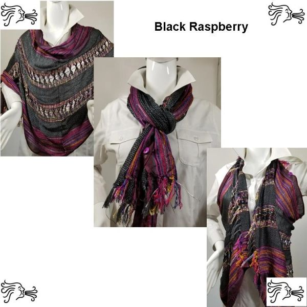 Woven Shades of Black Raspberry Vest/Poncho/Scarf with Button Accents