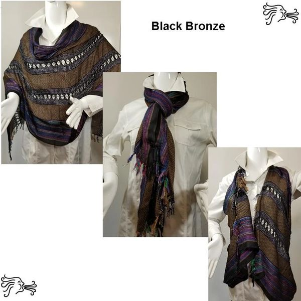 Woven Shades of Black Bronze Vest/Poncho/Scarf with Button Accents