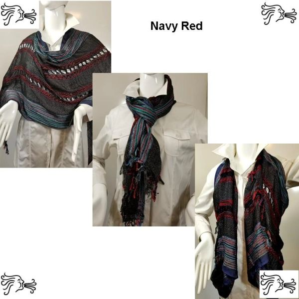 Woven Shades of Navy Red Vest/Poncho/Scarf with Button Accents