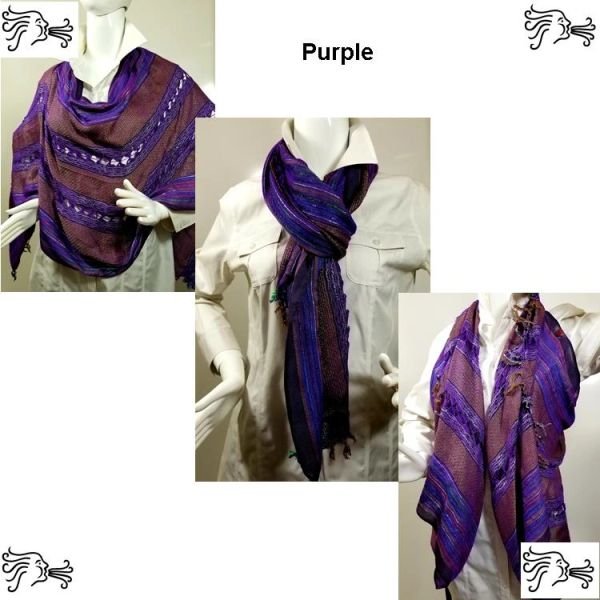 Woven Shades of Purple Vest/Poncho/Scarf with Button Accents