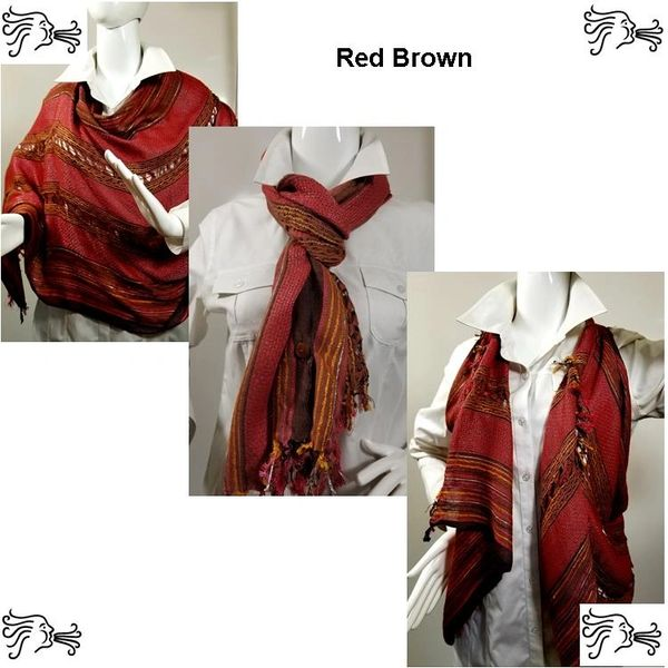 Woven Shades of Red Brown Vest/Poncho/Scarf with Button Accents