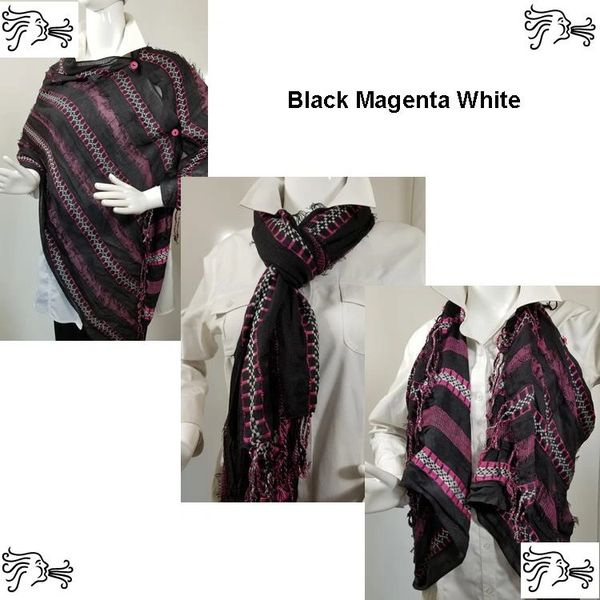 Woven Shades of Black and Magenta Vest/Poncho/Scarf with Button Accents