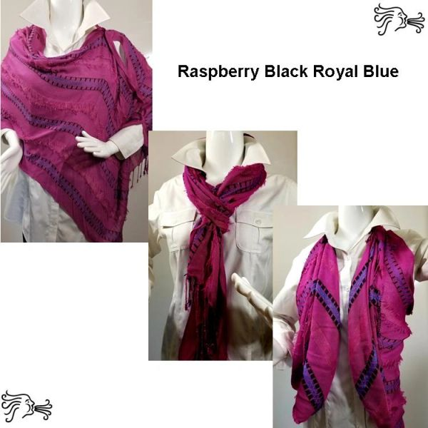 Woven Shades of Raspberry Black Royal Vest/Poncho/Scarf with Button Accents