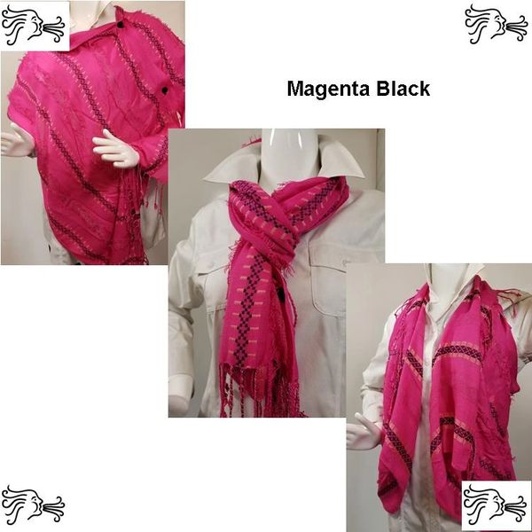 Woven Shades of Magenta Black Royal Vest/Poncho/Scarf with Button Accents