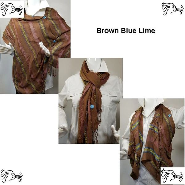 Woven Shades of Brown Blue Lime Vest/Poncho/Scarf with Button Accents