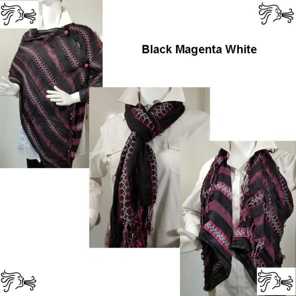 Woven Shades of Black Magenta White Vest/Poncho/Scarf with Button Accents