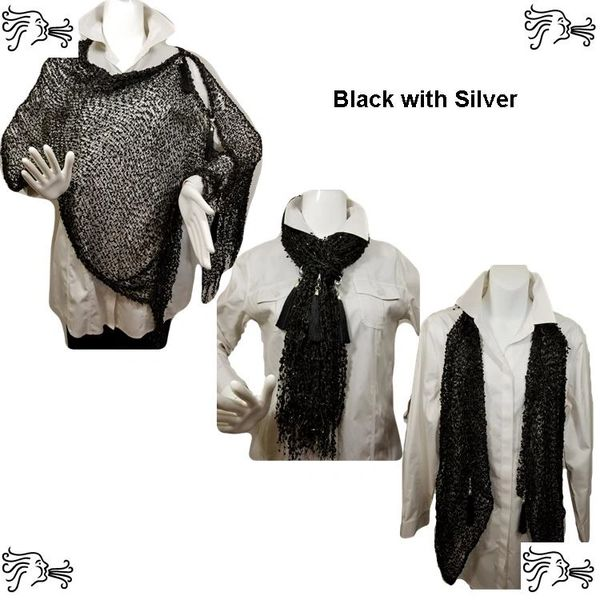Woven Shades of Black and Silver Vest/Poncho/Scarf with Tassel Accents