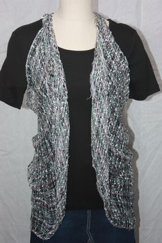 Woven Black/White/Grey/Teal/Pink Vest/Scarf