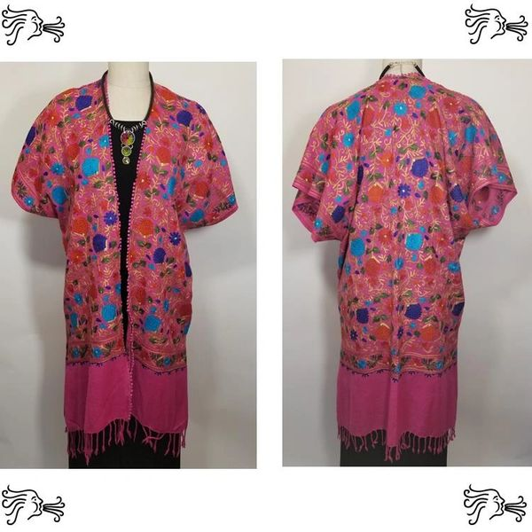 Magenta and Blue Embroidered Kimono Jacket Duster Vest
