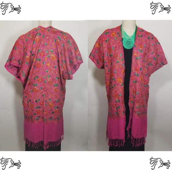Magenta and Green Embroidered Kimono Jacket Duster Vest