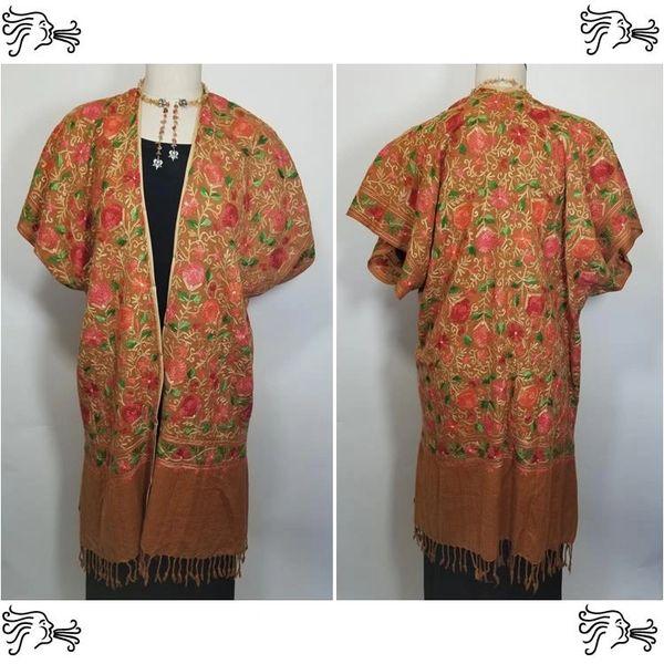 Cinnamon Peach Embroidered Kimono Jacket Duster Vest