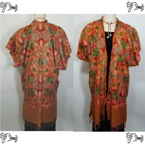 Cinnamon Orange Embroidered Kimono Jacket Duster Vest