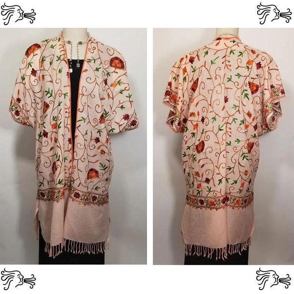 Pink Embroidered Kimono Jacket Duster Vest