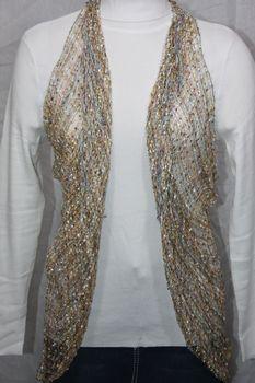 Woven Light Brown/White/Multi Thread Vest/Scarf